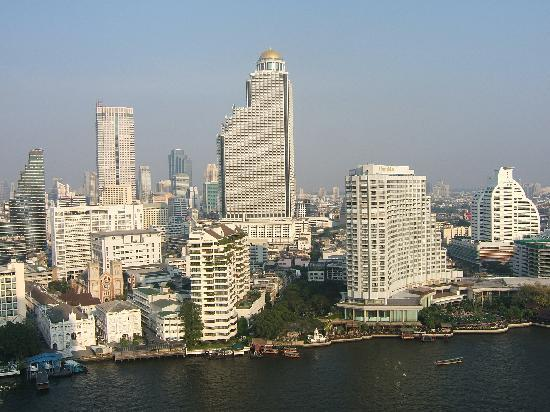 The Peninsula Bangkok: View across the river from our balcony