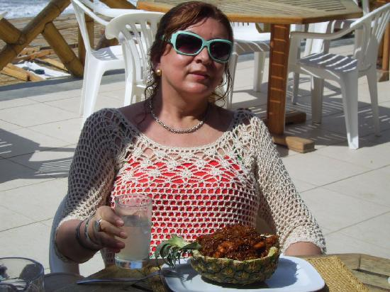 Hotel Casa de Playa: Almorzando un delicioso rissoto Thai...con mariscos...