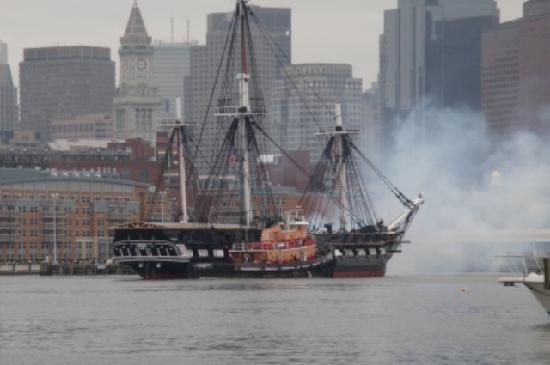 "Green Turtle Floating Bed and Breakfast: USS Constitution ""Old Ironsides"" turnaround-21 gun salute from the dock."