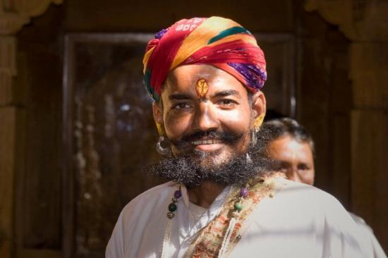 Jaisalmer, India: A very funny character: this guy is a member of the Warrior Caste and very proud of it. We excha