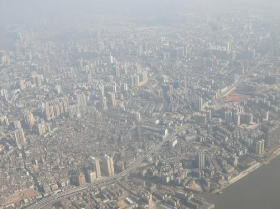 Sky-view of Guangzhou city, taken on China-Airlines