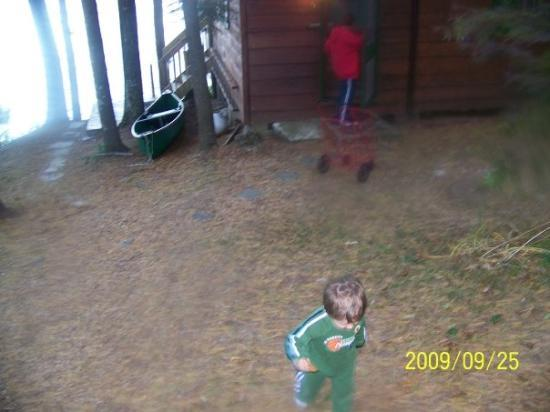 Lake George, NY: Pryce running away from the cabin for some reason!
