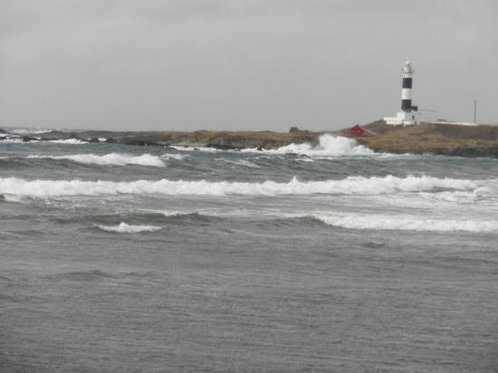 Oma-machi, Japan: This is at Oma Point.  The wind was blowing hard so the waves were crashing against the shore of