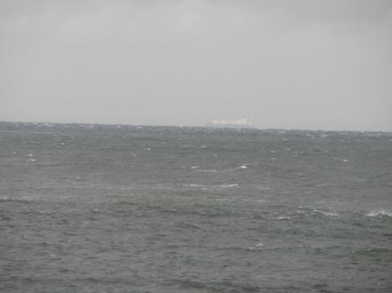 Oma-machi, Japan: That is a ship way off in the distance.  It has got to be a HUGE ship cause this is with my came