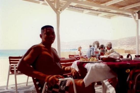 July 1997 Paradise Beach, Mykonos, Greece.