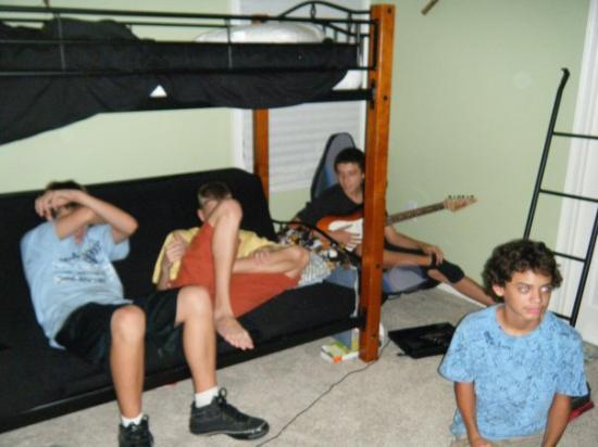 Indialantic, FL: The 15th b-day party is winding down... watching a movie in Josh's room.