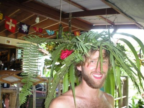 Hilo, HI: Evan (in the photo) and I walked around the grounds and made this out of foliage from the area.