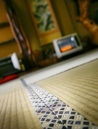 Homeikan: Tatami matta inne i vårt rum på Honkan