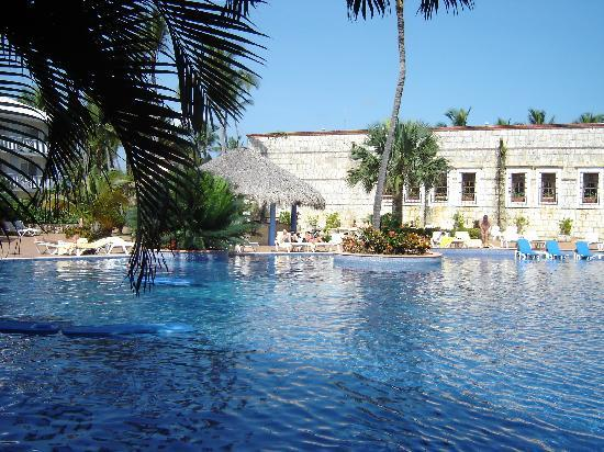 Excellence Punta Cana: View of the cascade pool from our patio right outside our room