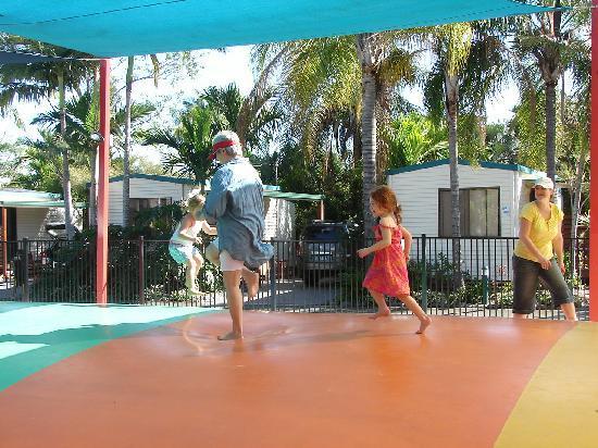 NRMA Treasure Island Holiday Resort: having fun on the jumping pillow