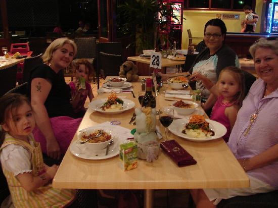 NRMA Treasure Island Holiday Resort: having a yummy meal at the bistro