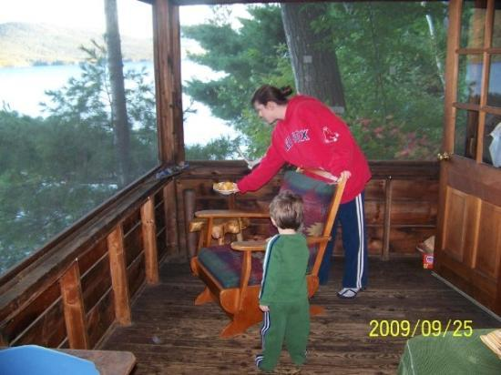 Lake George, NY: This is the deck overhaging the lake. AWESOME