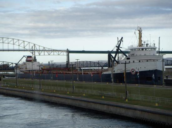 Soo Locks: Ore carrier Algocape, Sault Ste Marie Locks-Oct 2009