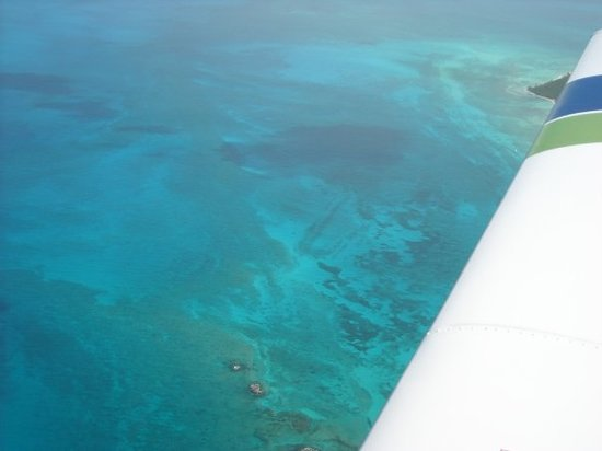 Bimini: The Two faint lines in the water in the middle of this picture is Bimini Road. (Atlantis ?)