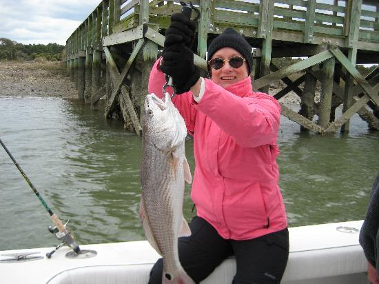 Charleston Sport Fishing: Sheri with a 10 lb red fish