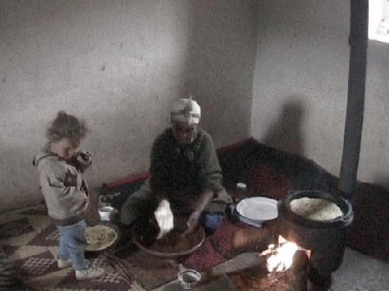 Azrou, Morocco: Host Cooking our Berber Breakfast