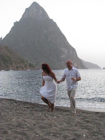 Crystals St Lucia: Running the beach after our vows