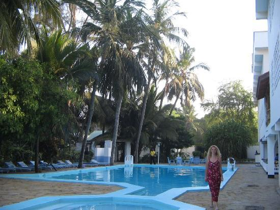 swimming pool in front of Kahama hotel in Mombasa
