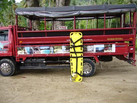 """Samana Bay: These """"Safari"""" trucks are typical transport for excursions in Samana."""