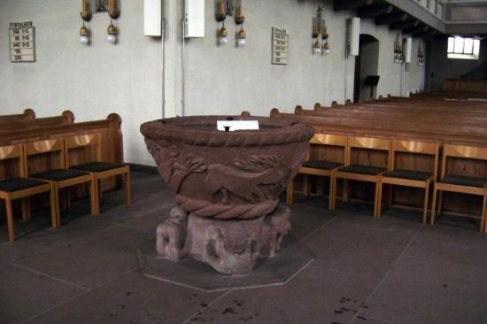 holy water container in protestant church in heilbronn. Black Bedroom Furniture Sets. Home Design Ideas