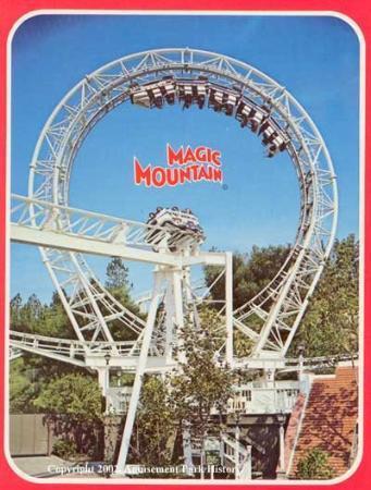 Santa Clarita, كاليفورنيا: Revolution at Magic Mountain feature on this vintage postcard,...taken the very year that Revolu
