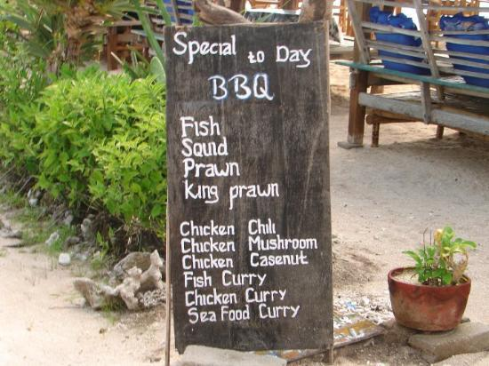 Jakarta, Indonesia: the menu at our bungalow