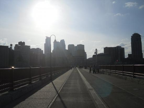 Minneapolis, MN: Stone Arche bridge looking at downtown mpls