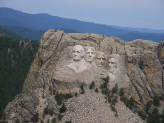 Keystone, SD: Our first view of Mt. Rushmore, which was from the helicopter.