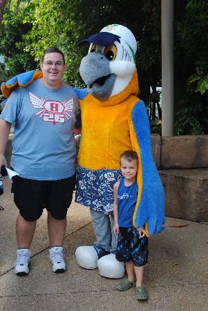 Ashmore Palms Holiday Village: My Husband & Son with Macca Macaw