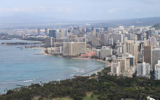 Sheraton Waikiki: view of hotel from Diamond Head