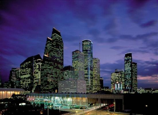 Houston skyline at night.