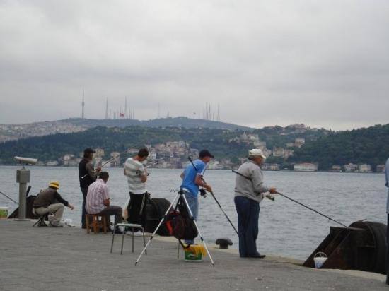 Bosphorus Cruise: Some guys fishing near the Bosphorus Bridge