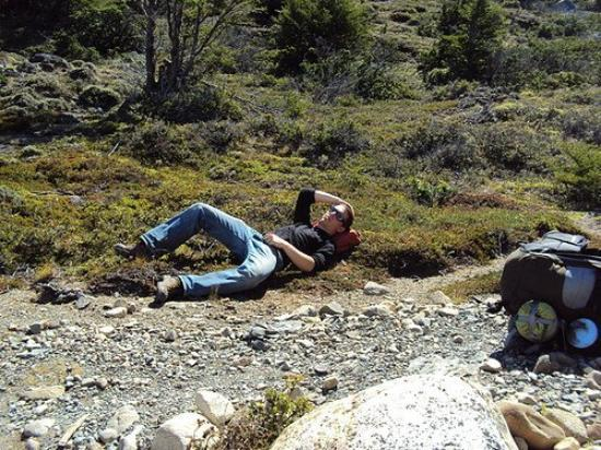 Torres del Paine National Park, Chile: Taking a rest during a very heavy hike