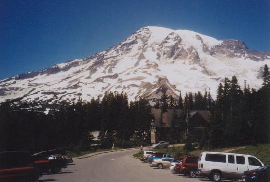 Mount Rainier: Paradise parking lot (elev. 5400 feet) below Mt. Rainier, which towers 9000 feet above.