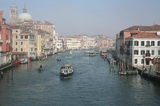 Hotel Canal Grande: View of the Hotel (white bldg on the right) and canal from the bridge at the Train Station