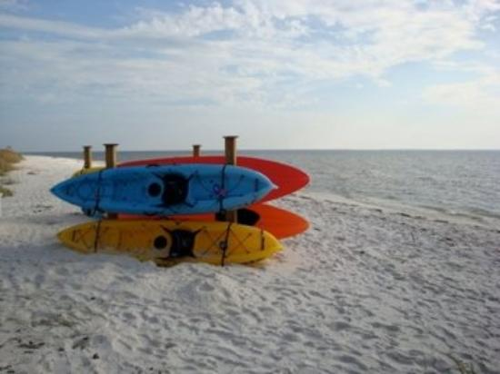 Port Saint Joe, FL: Wife also took this one ... I thought the colors of the kayaks contrast with the sugar-white san