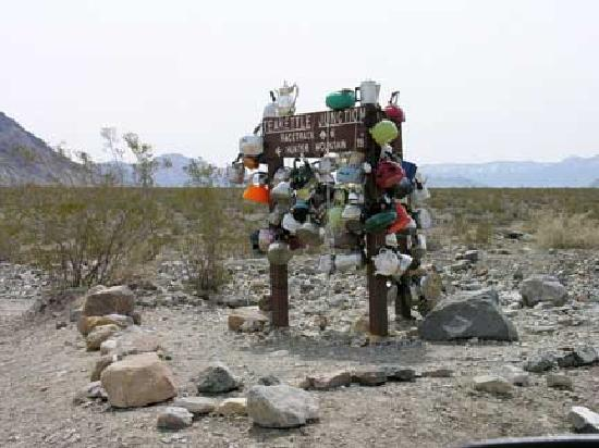 The Racetrack : Teakettle Junction 6 mi before playa. Teakettles have personal inscriptions on them.