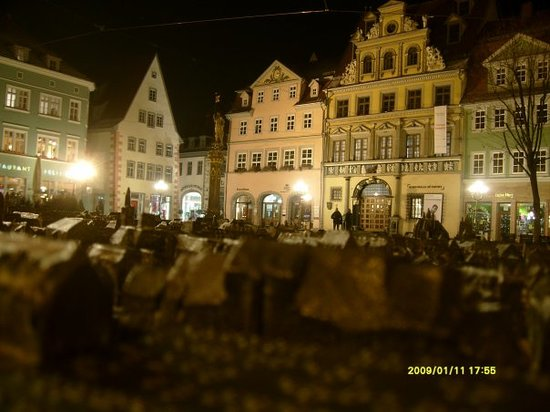 Model and real: Erfurt by night.