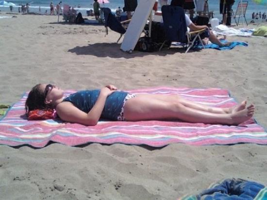 Malibu, CA: Erin soaks up the sun at Zuma Beach
