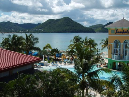 Sandals Grande St. Lucian Spa & Beach Resort: Over looking the main pool area at Sandals Grande St Luica