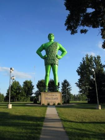 Green Giant Statue Park: The Jolly Green Giant! Found in Blue Earth, Minnesota.