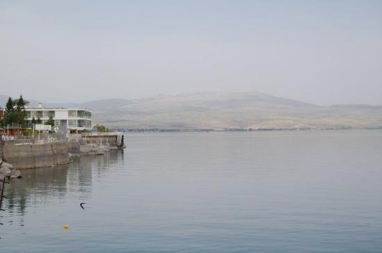 view of sea of galilee seen from Tiberias.