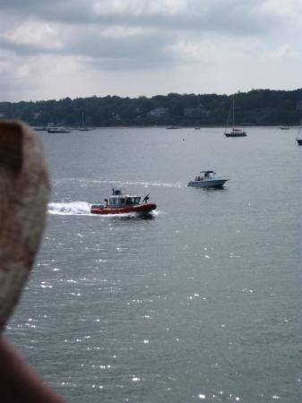 Lebanon, NH: One of two Coast Guard gunboats accompanying ferry from Martha's Vineyard to Woods Hole, day bef