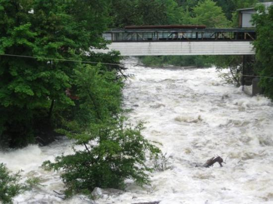 Mascoma River rages through Lebanon, New Hampshire, July 2009. How  wet was our summer?