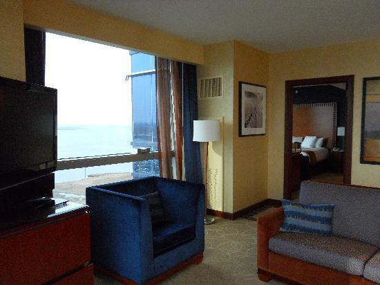 Harrah's Resort Atlantic City: Only clock in room on window ledge. You can plug it in elsewhere.