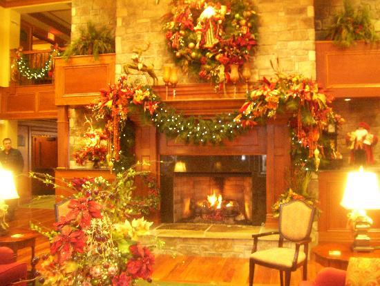 The Inn at Christmas Place: lobby fireplace