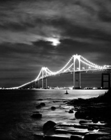 Newport Bridge from Jamestown, RI BW film, timed exposure  Mamiya 645