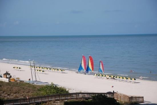 Marco Island, FL: La playa detras del hotel.