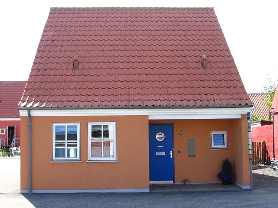 Bornholm - typical house with bus stop at the front