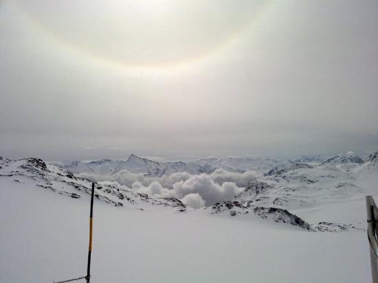 Val Thorens, Frankrike: uitzicht naar La Vanoise, vanaf de gletser.